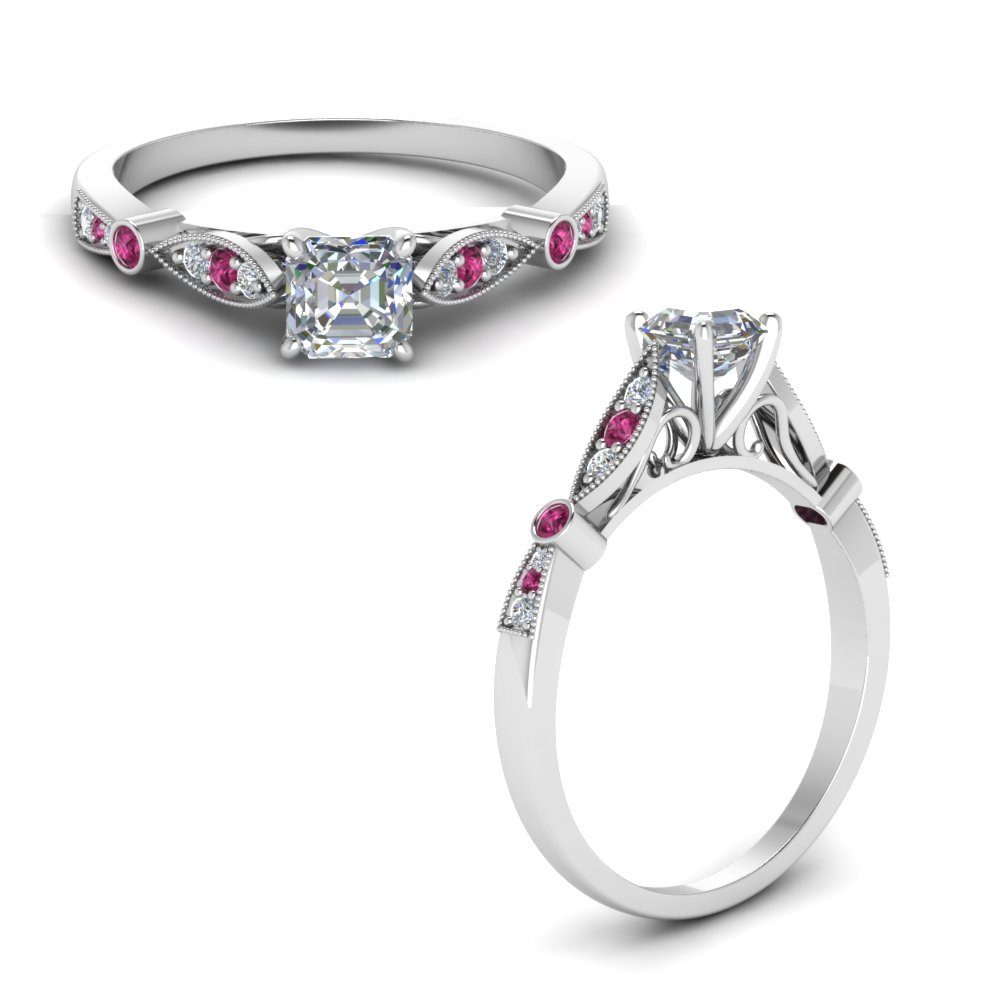 delicate art deco asscher lab diamond engagement ring with pink sapphire in FD8593ASRGSADRPIANGLE1 NL WG.jpg