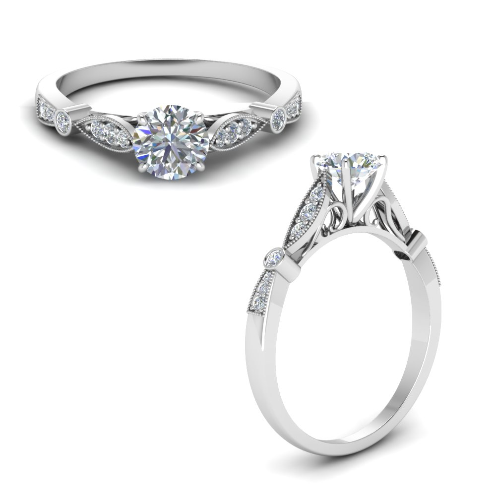 delicate art deco round moissanite engagement ring in FD8593RORANGLE1 NL WG