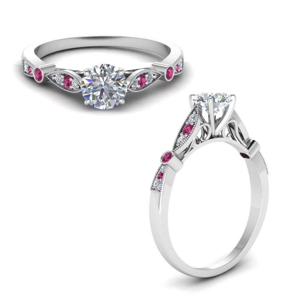 delicate art deco round diamond engagement ring with pink sapphire in FD8593RORGSADRPIANGLE1 NL WG
