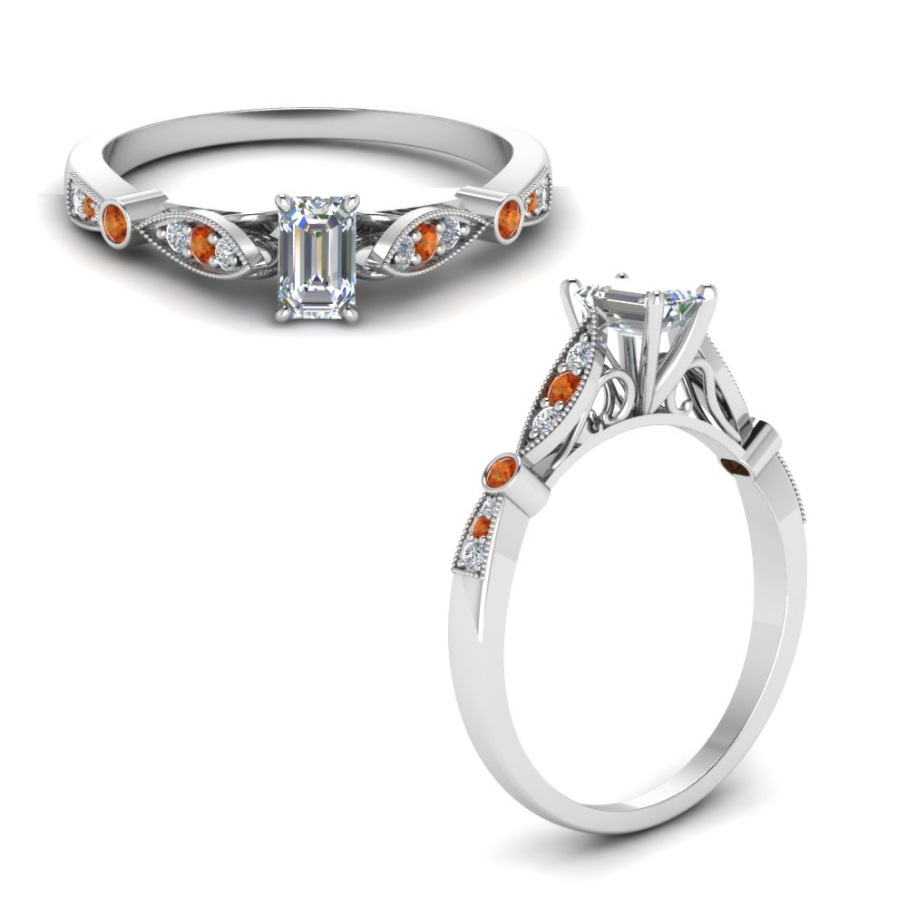 delicate art deco emerald cut diamond engagement ring with orange sapphire in FD8593EMRGSAORANGLE1 NL WG.jpg