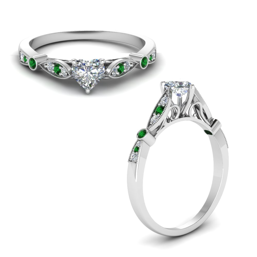 delicate art deco heart moissanite engagement ring with emerald in FD8593HTRGEMGRANGLE1 NL WG.jpg