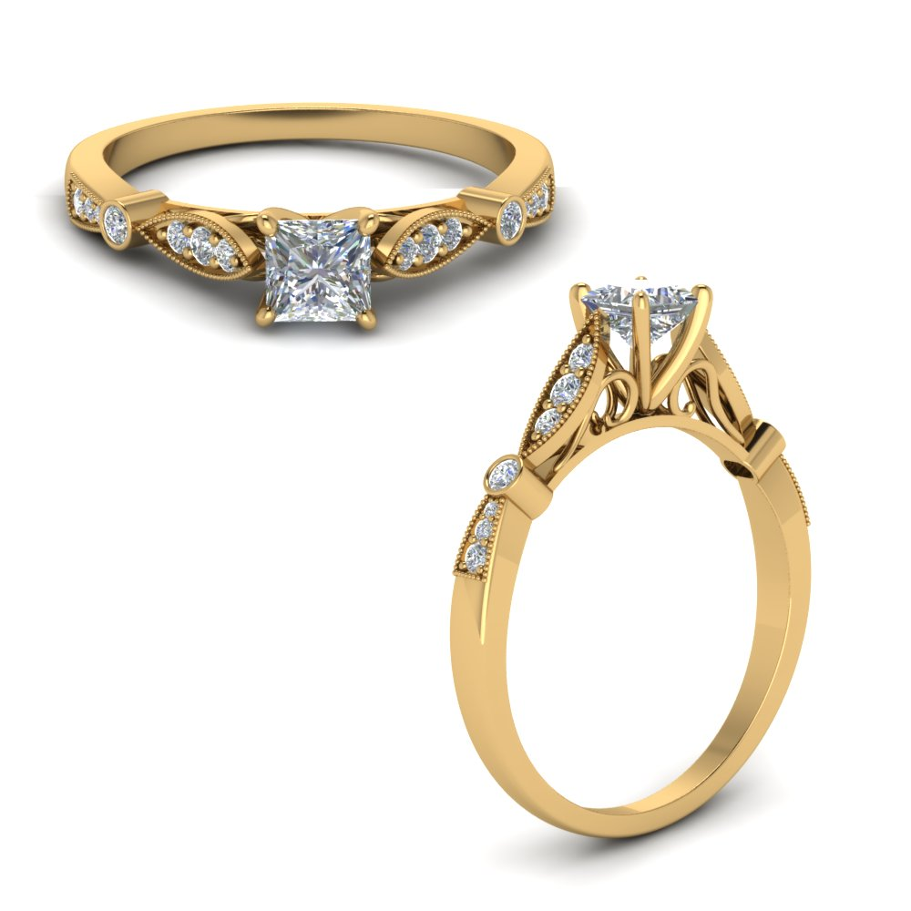 delicate art deco princess diamond engagement ring in FD8593PRRANGLE1 NL YG.jpg