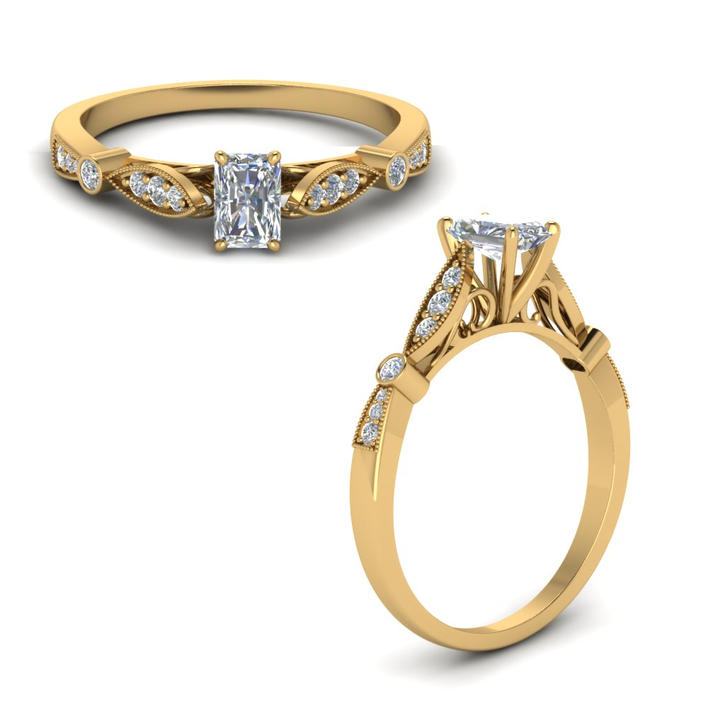 delicate art deco radiant diamond engagement ring in FD8593RARANGLE1 NL YG.jpg