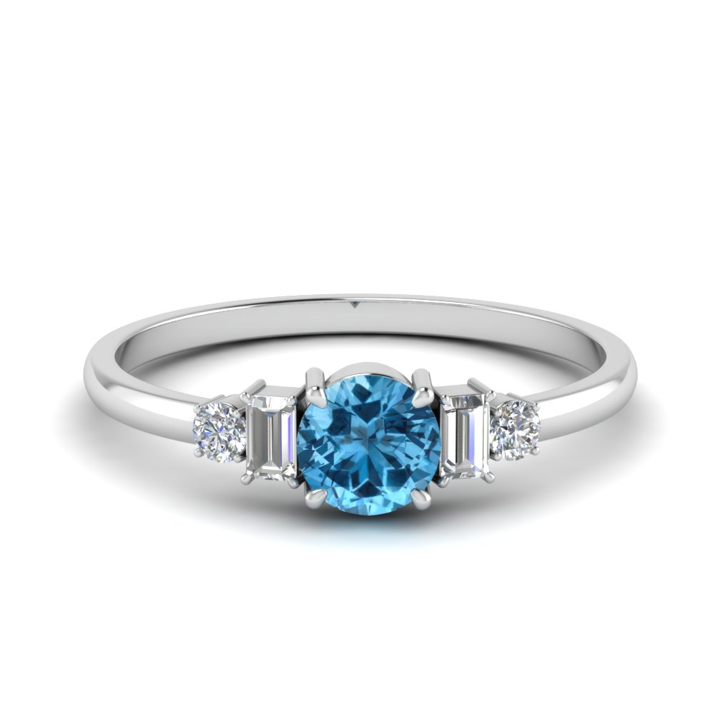 Blue Topaz & Baguette Diamond Ring