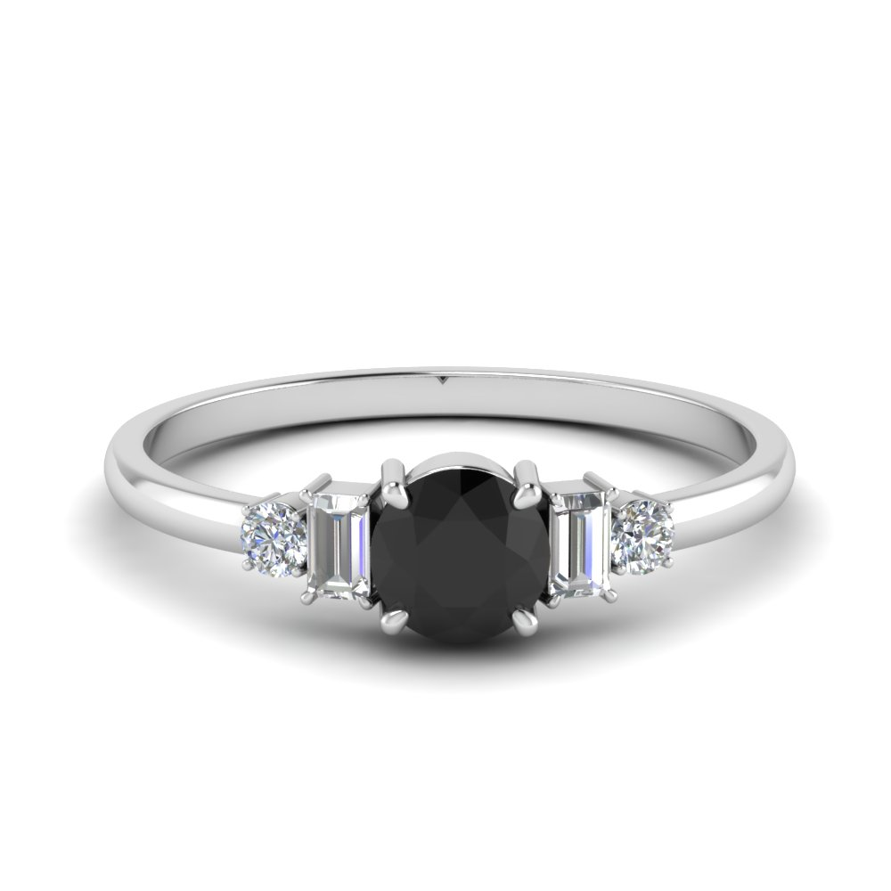 Delicate Black Diamond With Baguette Ring