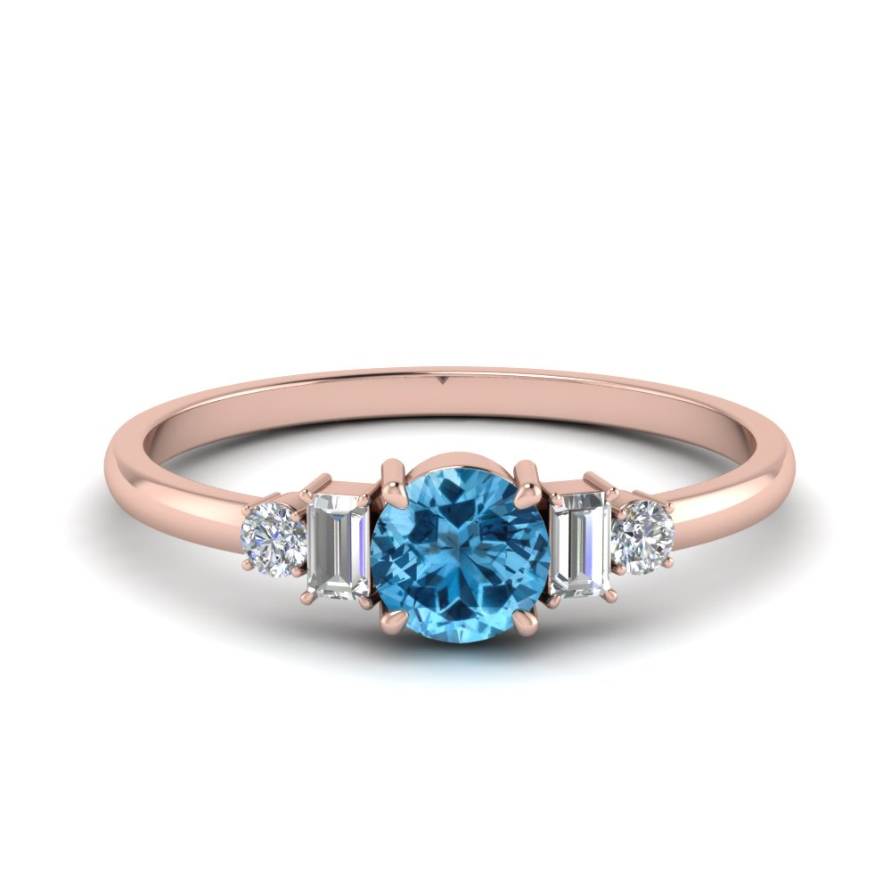 Blue Topaz With Baguette Ring