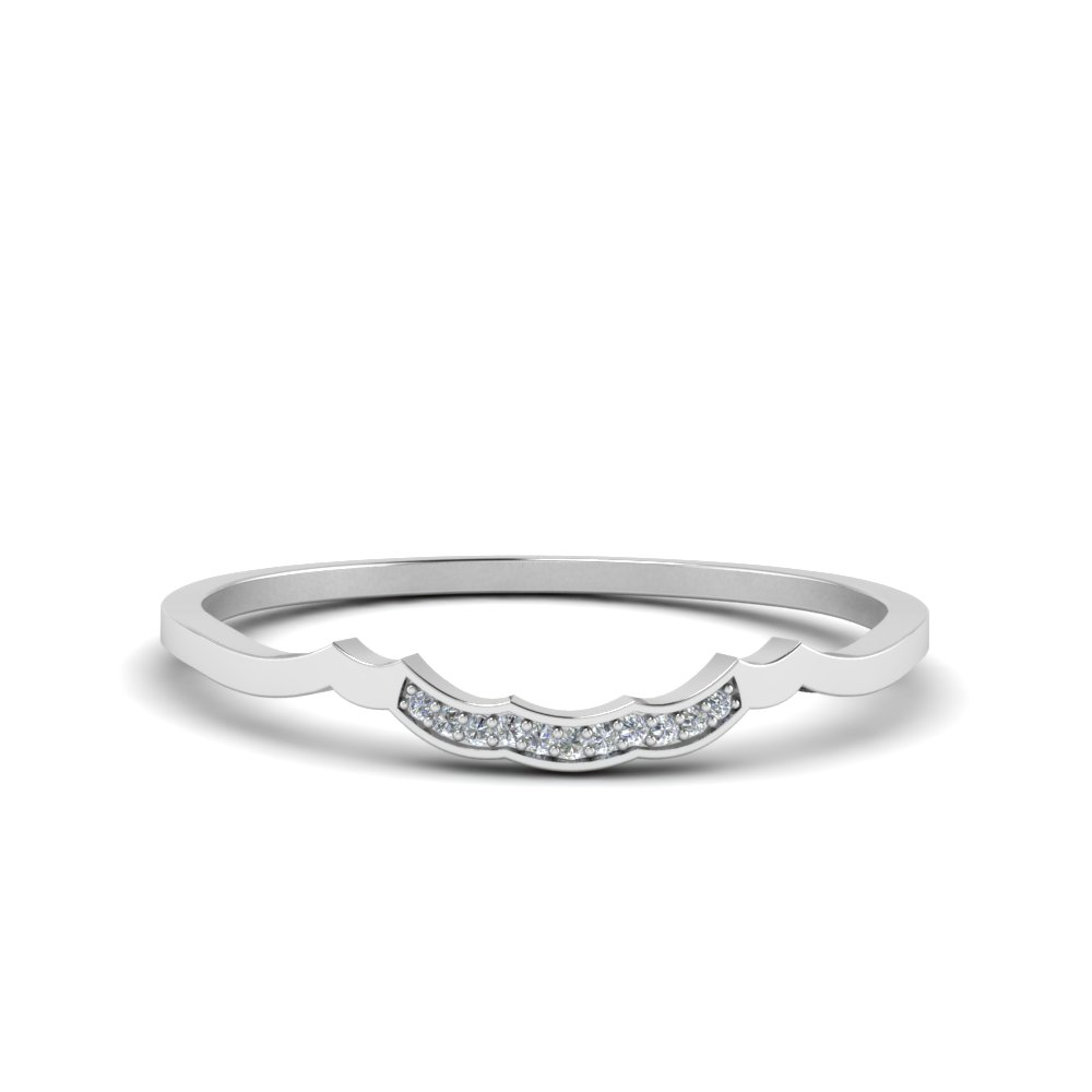 Delicate Curved Pave Diamond Wedding Band In 14K White Gold