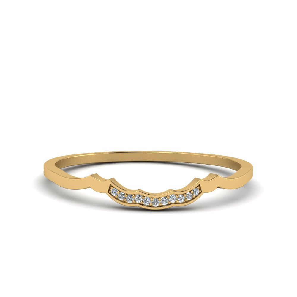 delicate curved pave diamond wedding band in 14K yellow gold FDO50786B NL YG