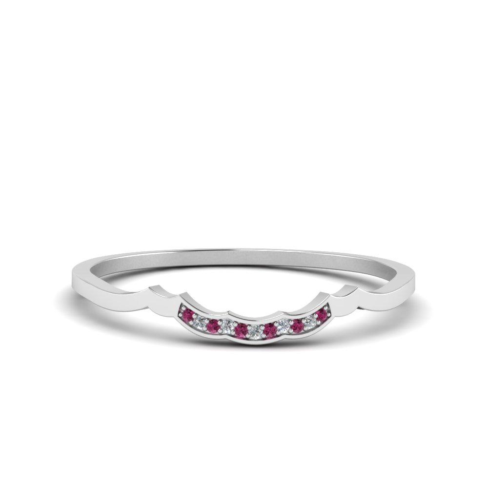 delicate curved pave diamond wedding band with pink sapphire in FDO50786BGSADRPI NL WG