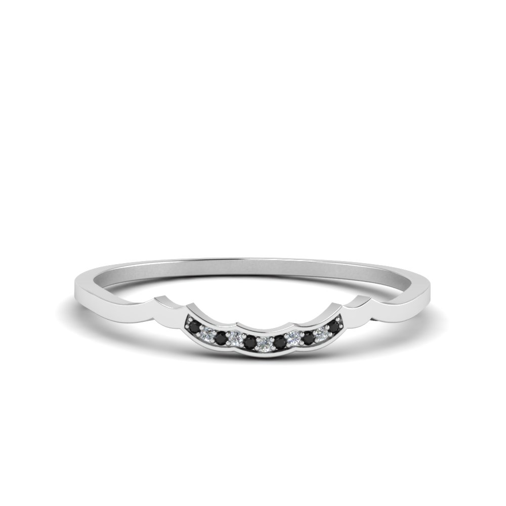Delicate Curved Pave Wedding Band With Black Diamond In 18K White