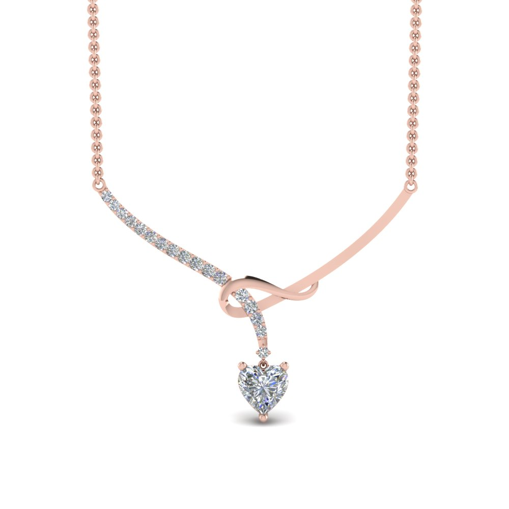 Twisted Heart Diamond Drop Necklace