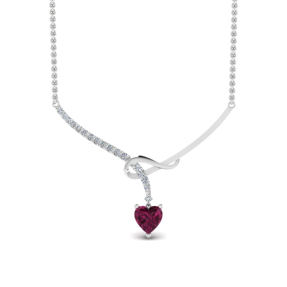 delicate diamond twist women necklace with pink sapphire in FDPD8838GSADRPIANGLE2 NL WG
