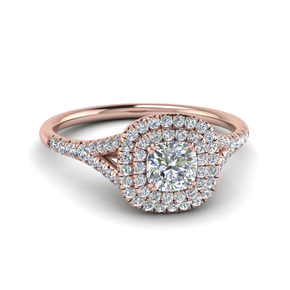 Rose Gold Cushion Halo Engagement Rings
