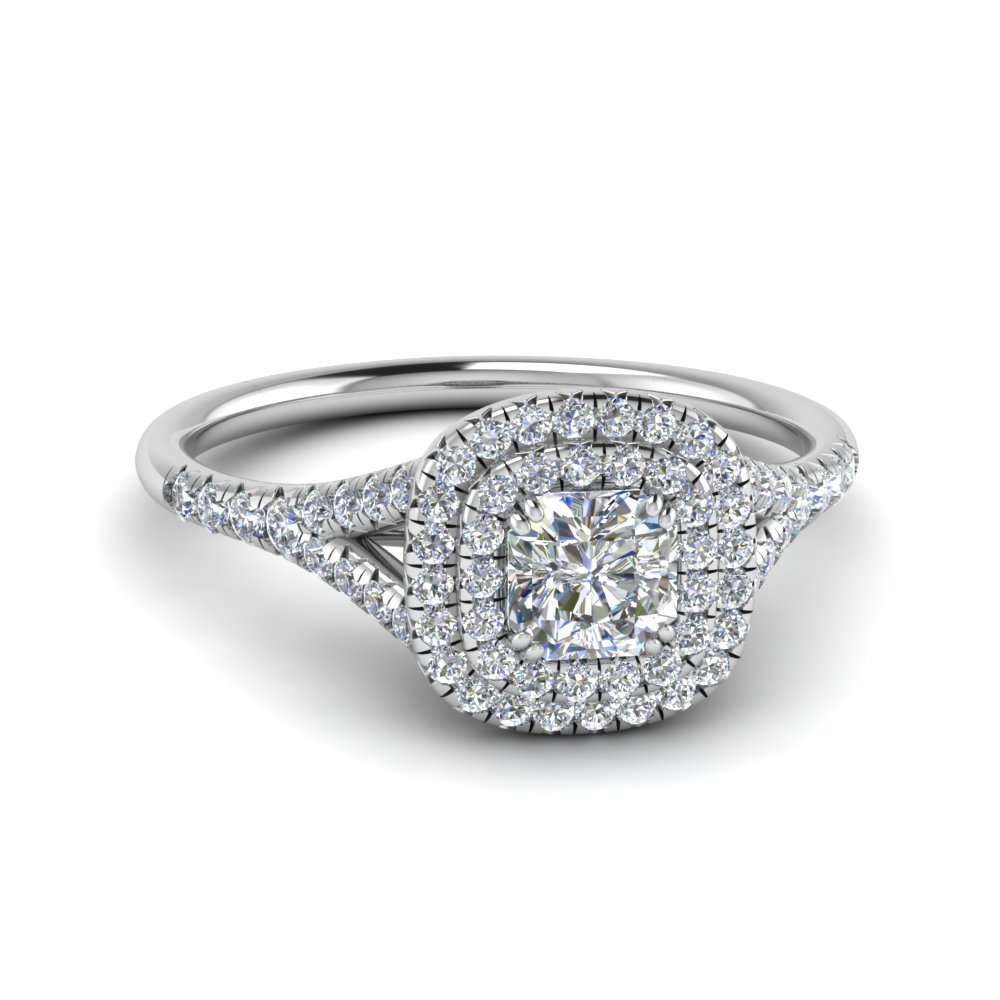 delicate double halo radiant diamond engagement ring in FD8466RAR NL WG