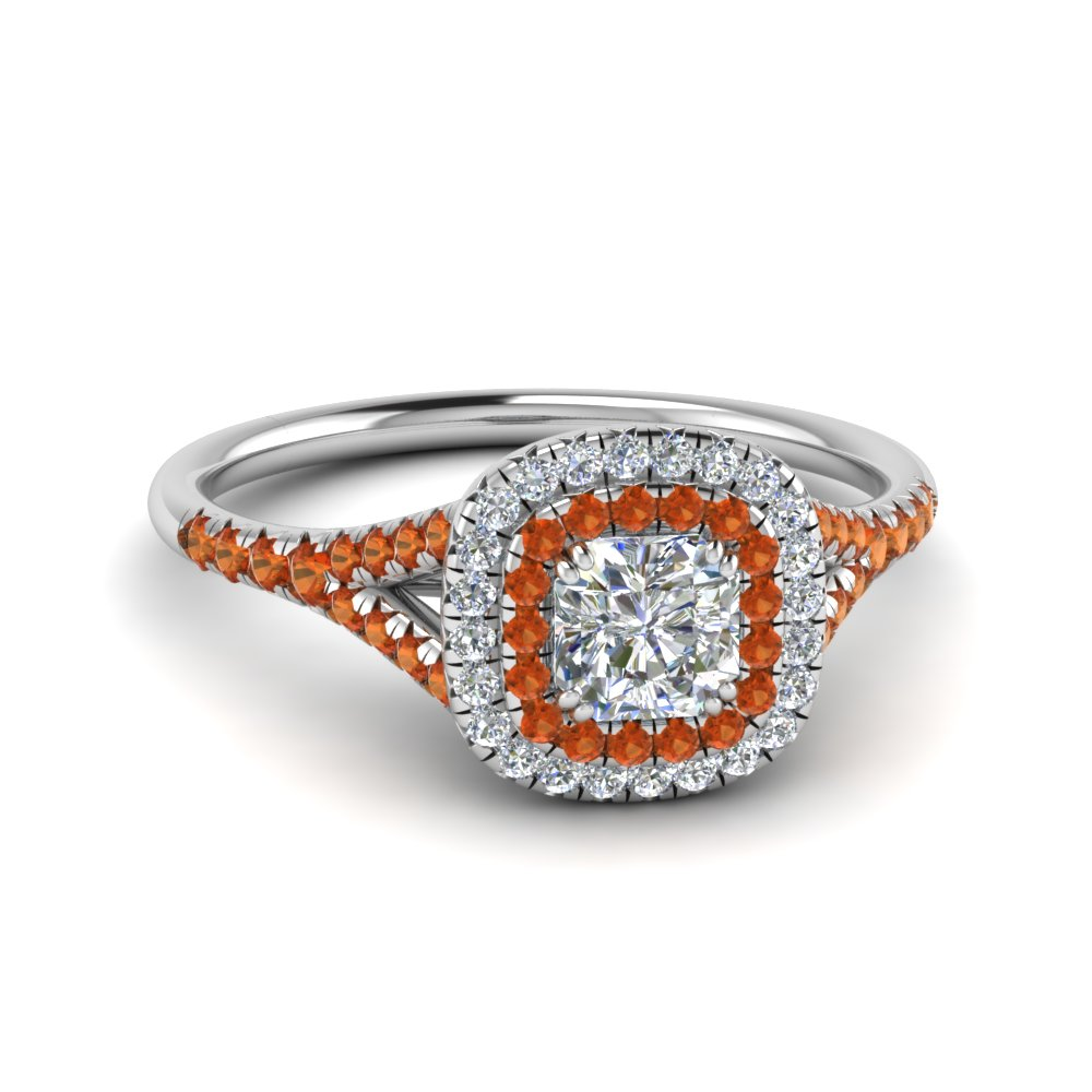 delicate double halo radiant diamond engagement ring with orange sapphire in FD8466RARGSAOR NL WG