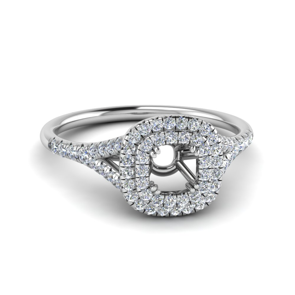 delicate double halo semi mount diamond engagement ring in FD8466SMR NL WG
