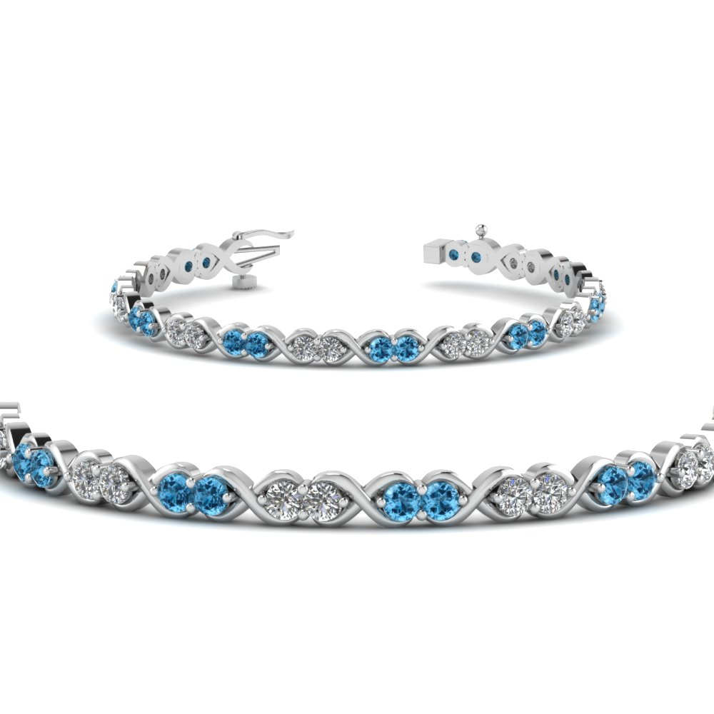 delicate infinity diamond bracelet with blue topaz in FDBR57GICBLTOANGLE2 NL WG