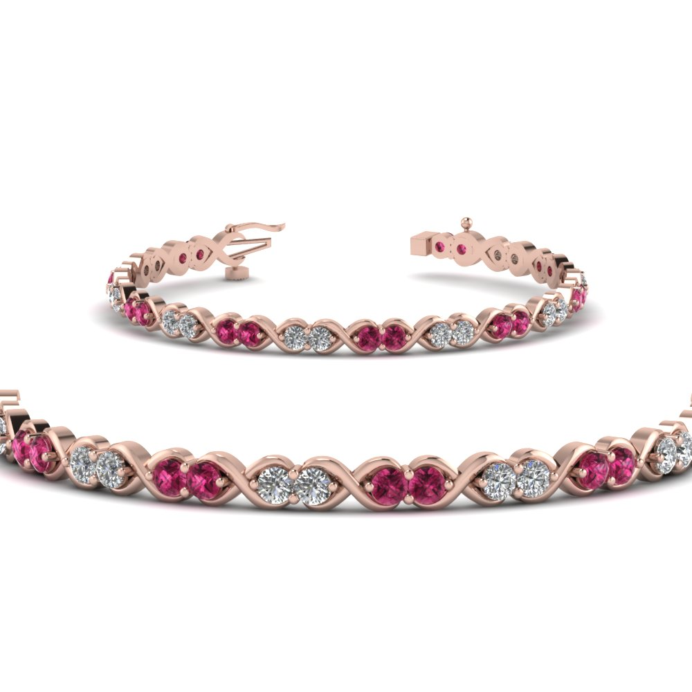 delicate infinity diamond bracelet with pink sapphire in FDBR57GSADRPIANGLE2 NL RG