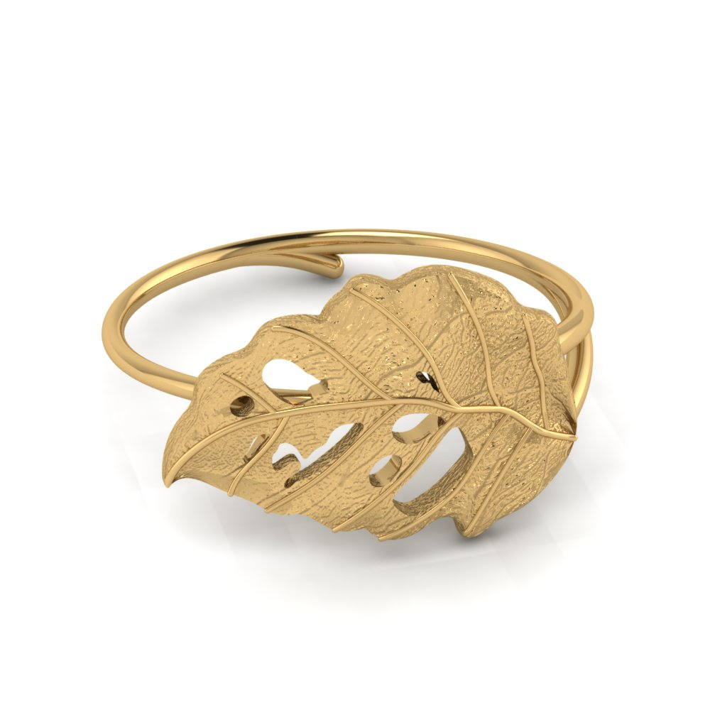 18K Gold Delicate Leaf Ring