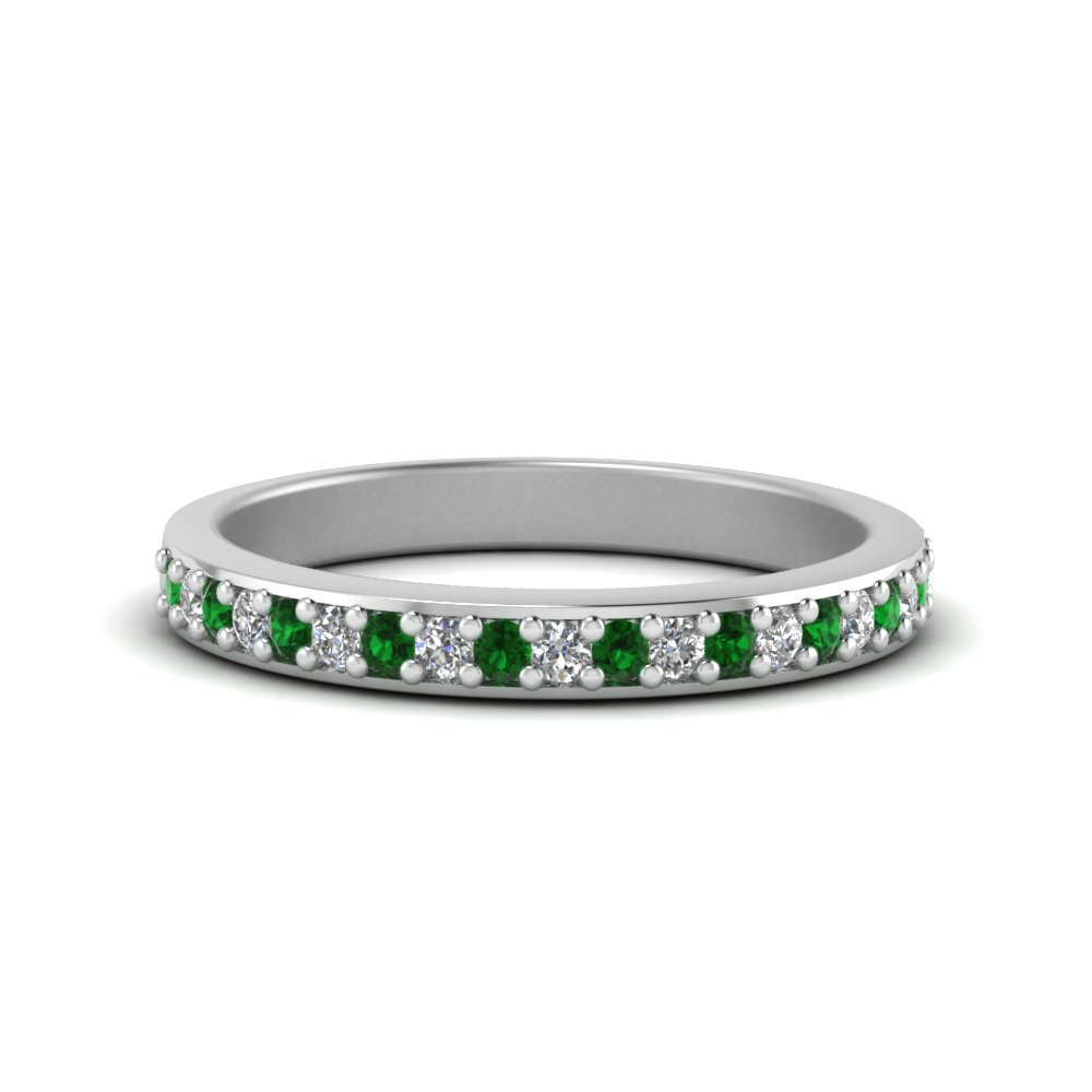 delicate pave diamond wedding band with emerald in 14k white gold FDENS3184BGEMGR NL WG