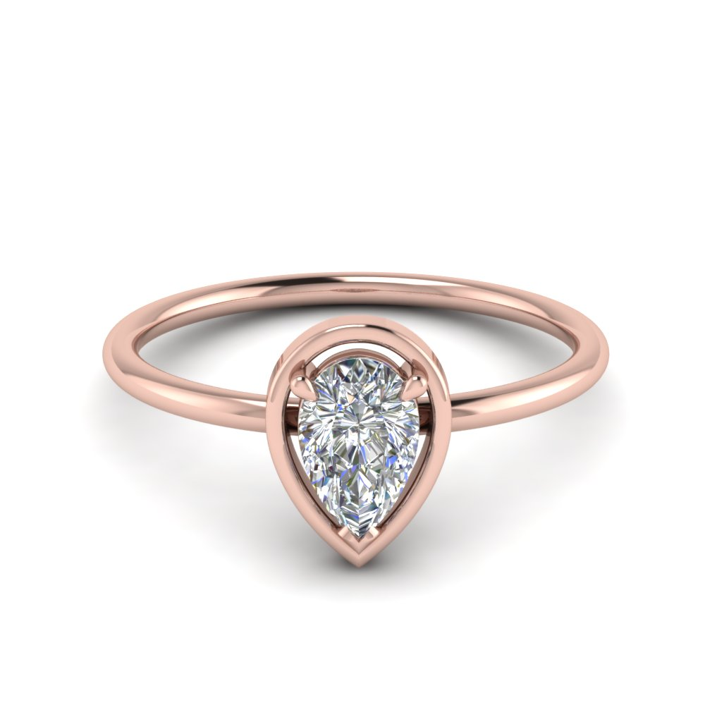 Single Pear Diamond Solitaire Ring