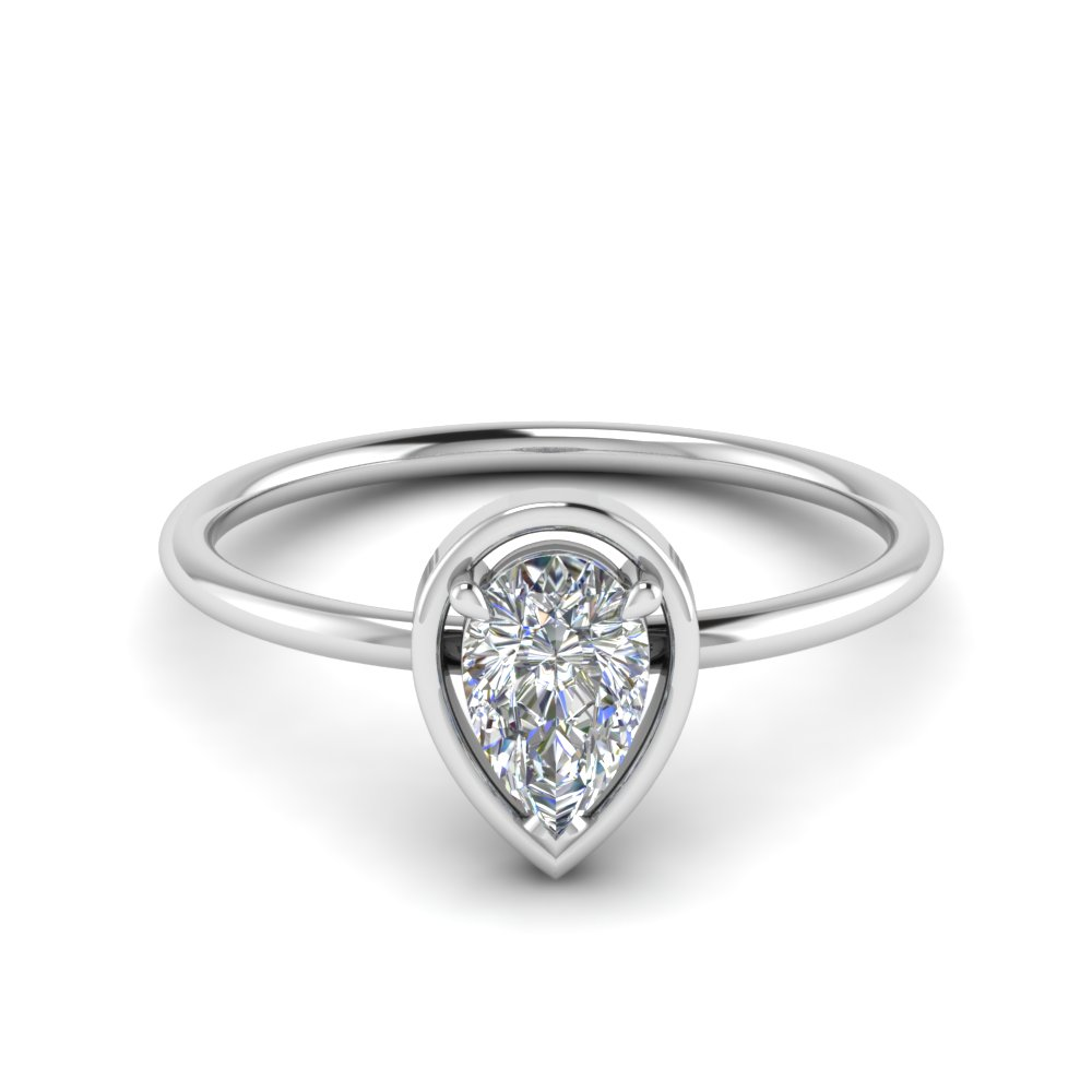 delicate pear moissanite solitaire engagement ring in FD9071PE NL WG