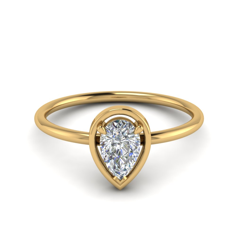 delicate pear diamond solitaire engagement ring in FD9071PE NL YG