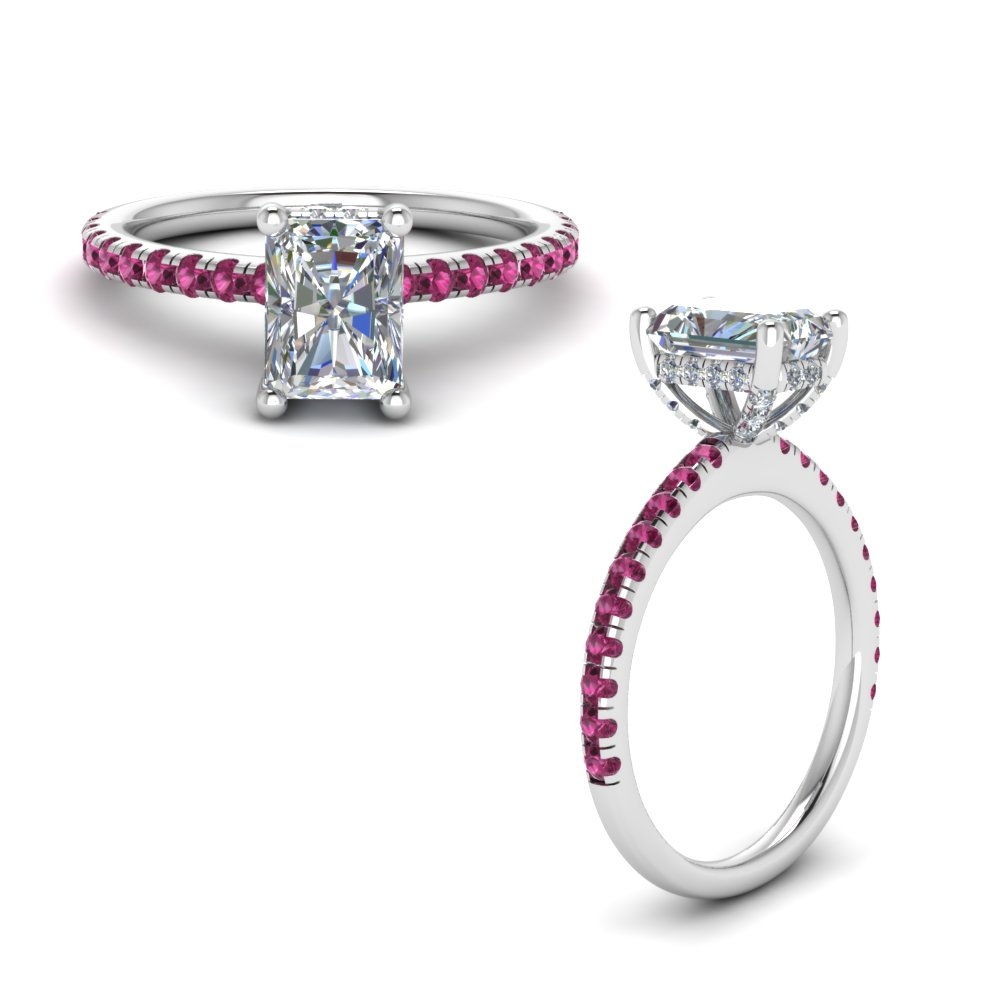 delicate radiant diamond ring for mom with pink sapphire in FD8523RARGSADRPIANGLE1 NL WG GS