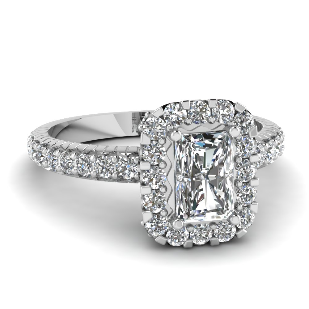 Delicate Radiant Halo Diamond Antique Engagement Ring In