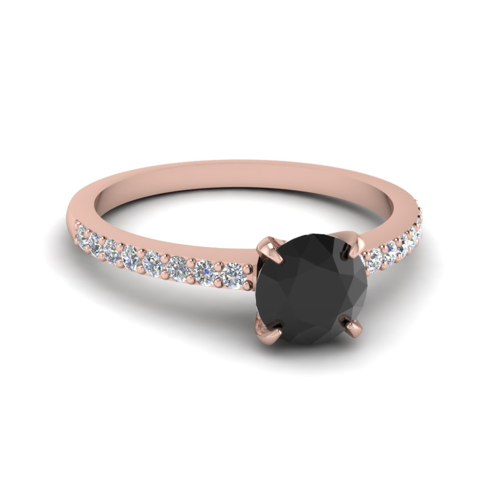Delicate Round Black Diamond Engagement Ring