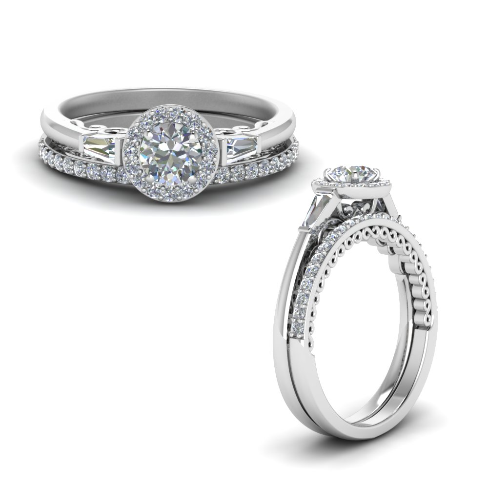 Halo Baguette Diamond Wedding Set