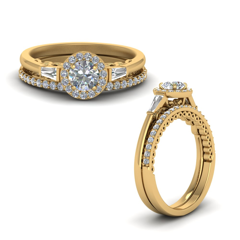 Halo Baguette Diamond Ring Set