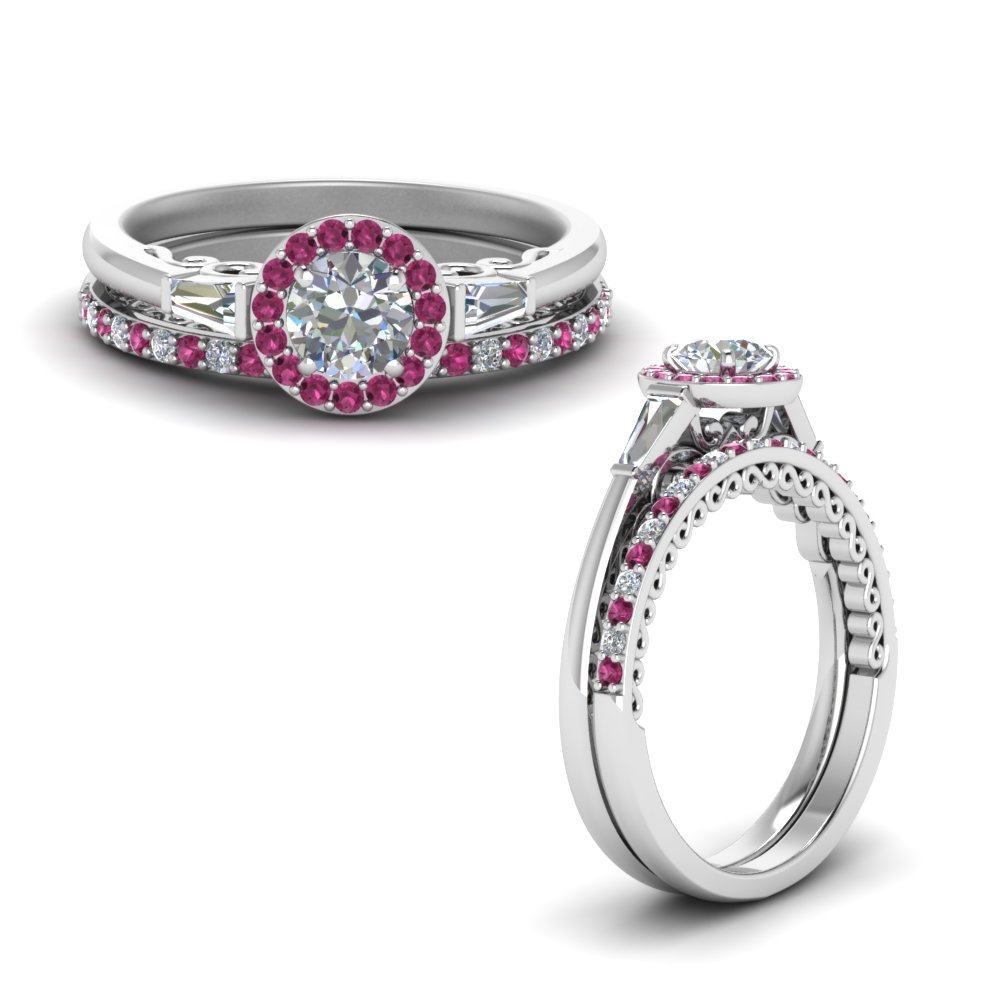 delicate round cut halo diamond bridal set and baguette with pink sapphire in FD122910ROGSADRPIANGLE1 NL WG