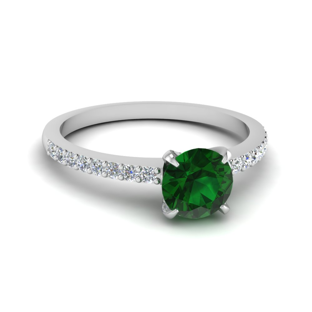 delicate emerald stone engagement ring in FD1026RORGEM NL WG