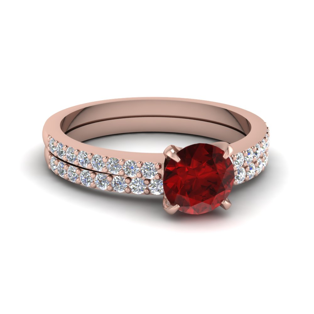 delicate ruby stone wedding set in FD1026ROGRD NL RG