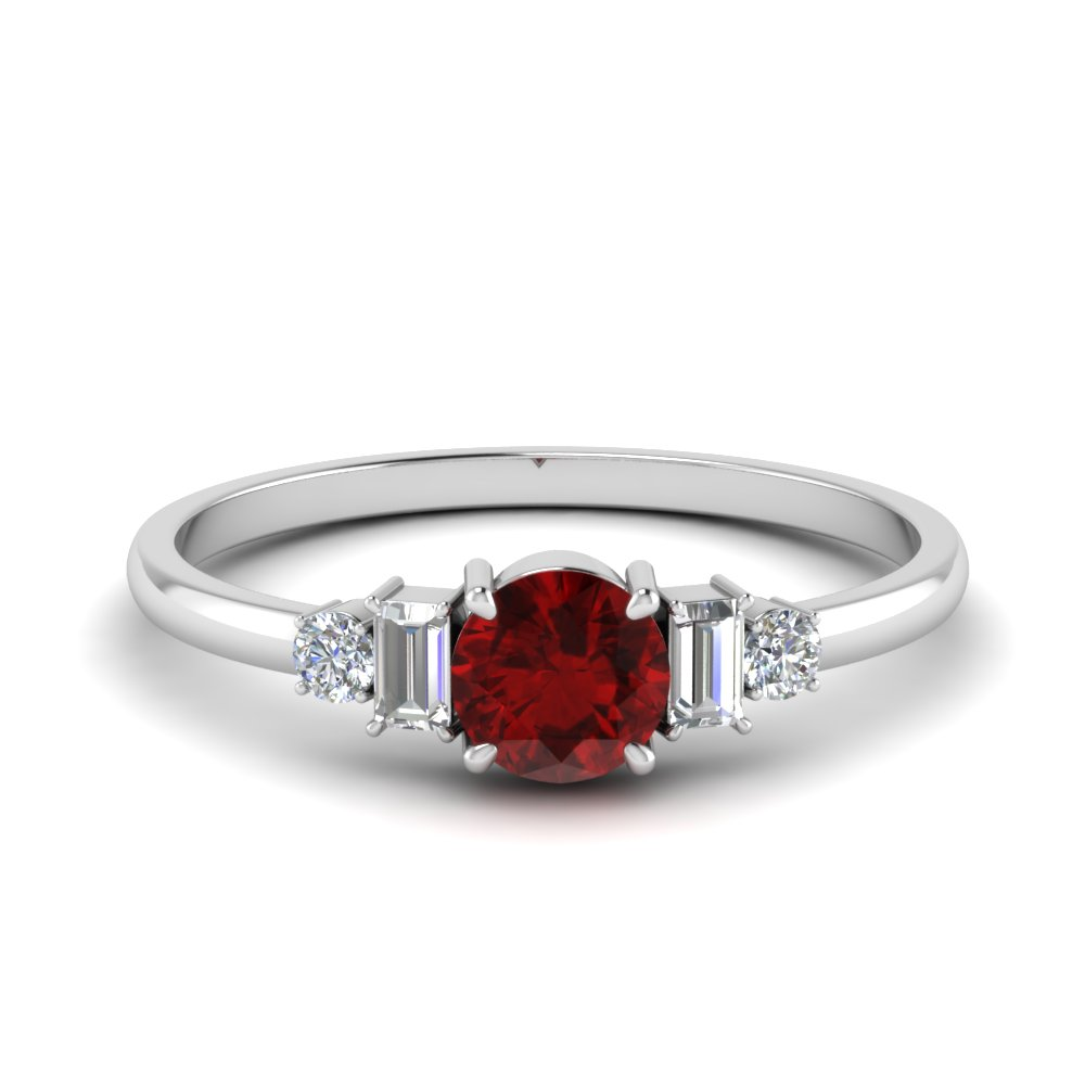 Delicate Ruby With Baguette Ring