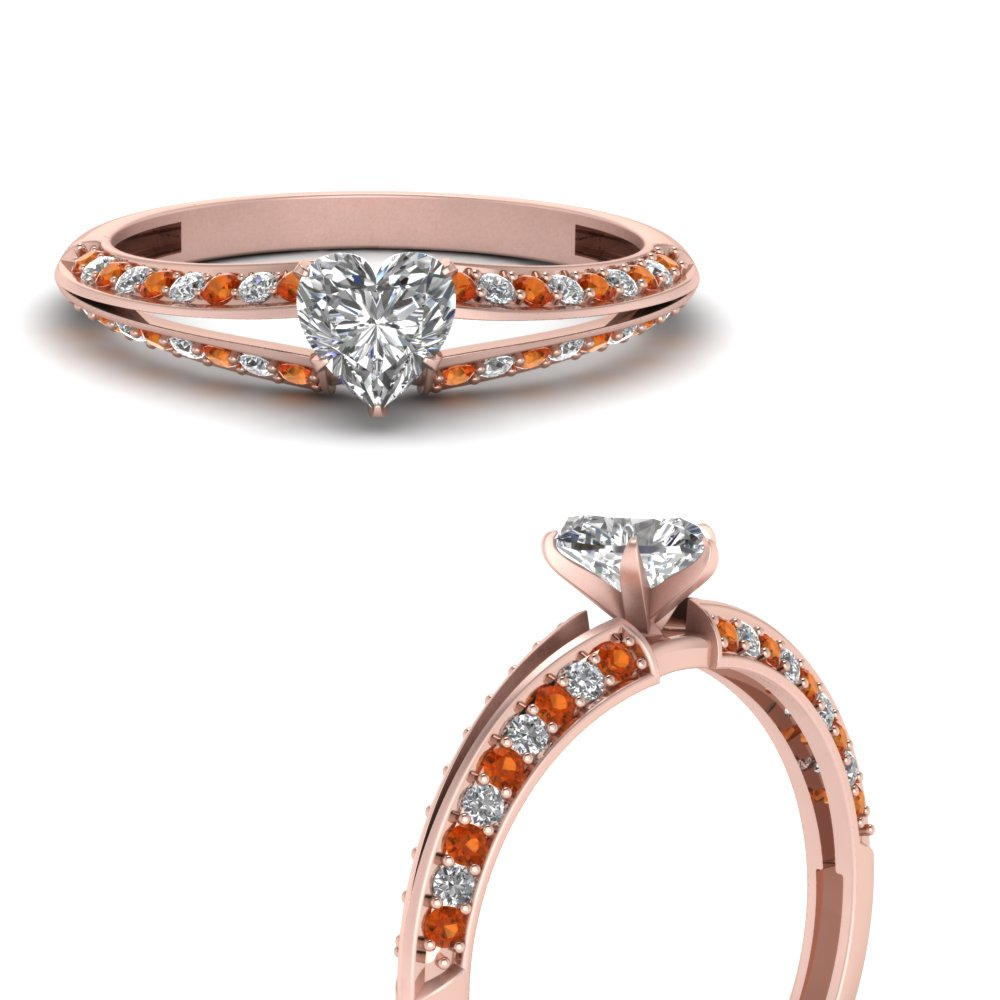 delicate split heart diamond engagement ring with orange sapphire in FDENS3049HTRGSAORANGLE3 NL RG