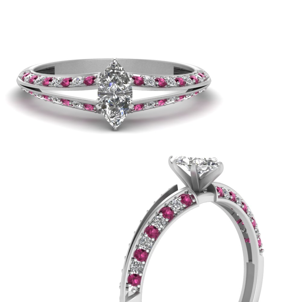 delicate split marquise moissanite engagement ring with pink sapphire in FDENS3049MQRGSADRPIANGLE3 NL WG