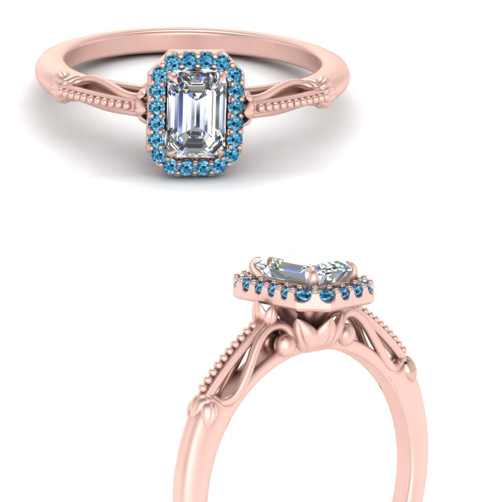 delicate vintage blue topaz engagement ring with emerald cut halo in 18K rose gold FD124330EMRGICBLTOANGLE3 NL RG