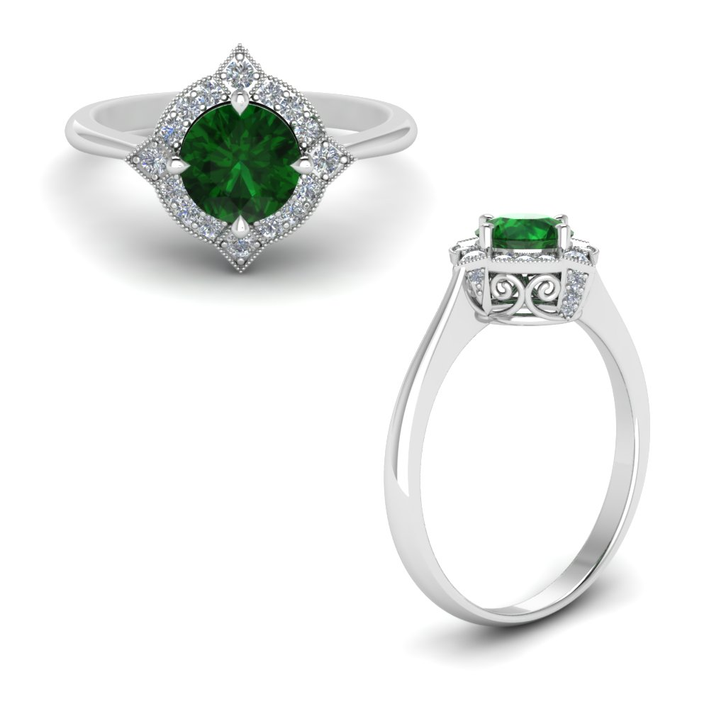 Antique Looking Emerald Halo Ring
