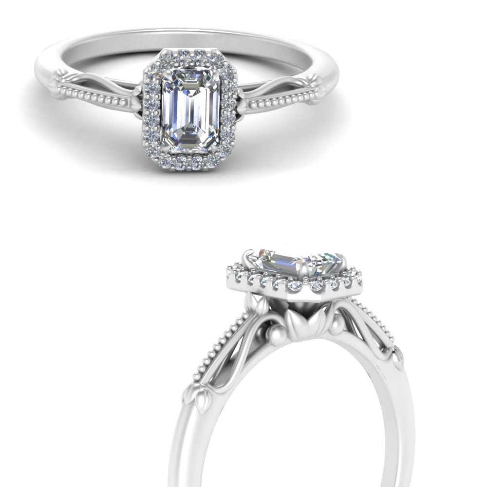 delicate vintage engagement ring with emerald cut halo in 14K white gold FD124330EMRANGLE3 NL WG