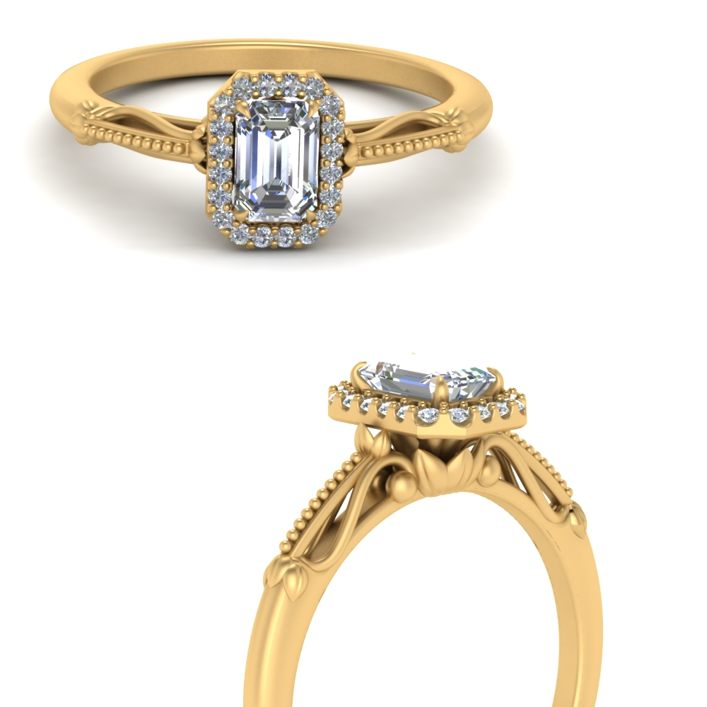 delicate vintage engagement ring with emerald cut halo in 14K yellow gold FD124330EMRANGLE3 NL YG