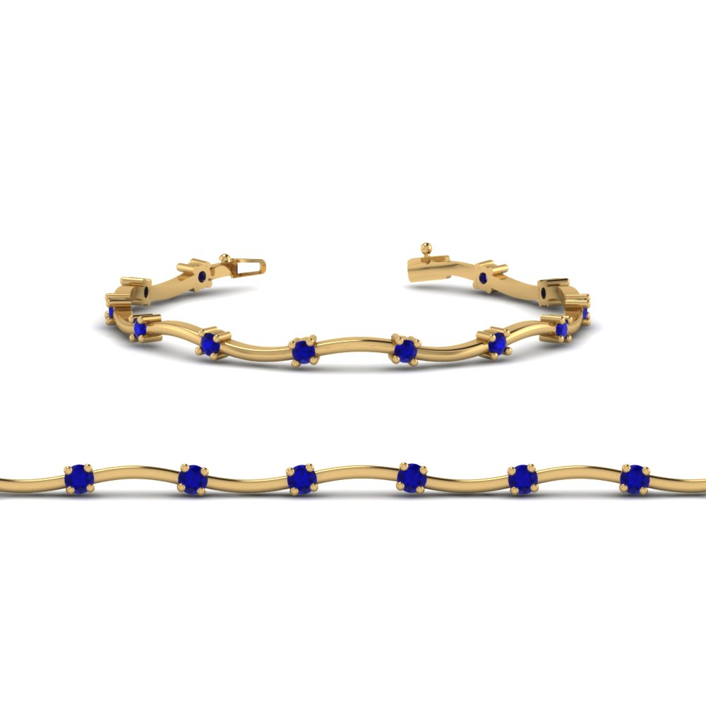 delicate wave diamond bracelet with blue sapphire in 14K yellow gold FDBRC234GSABLANGLE2 NL YG
