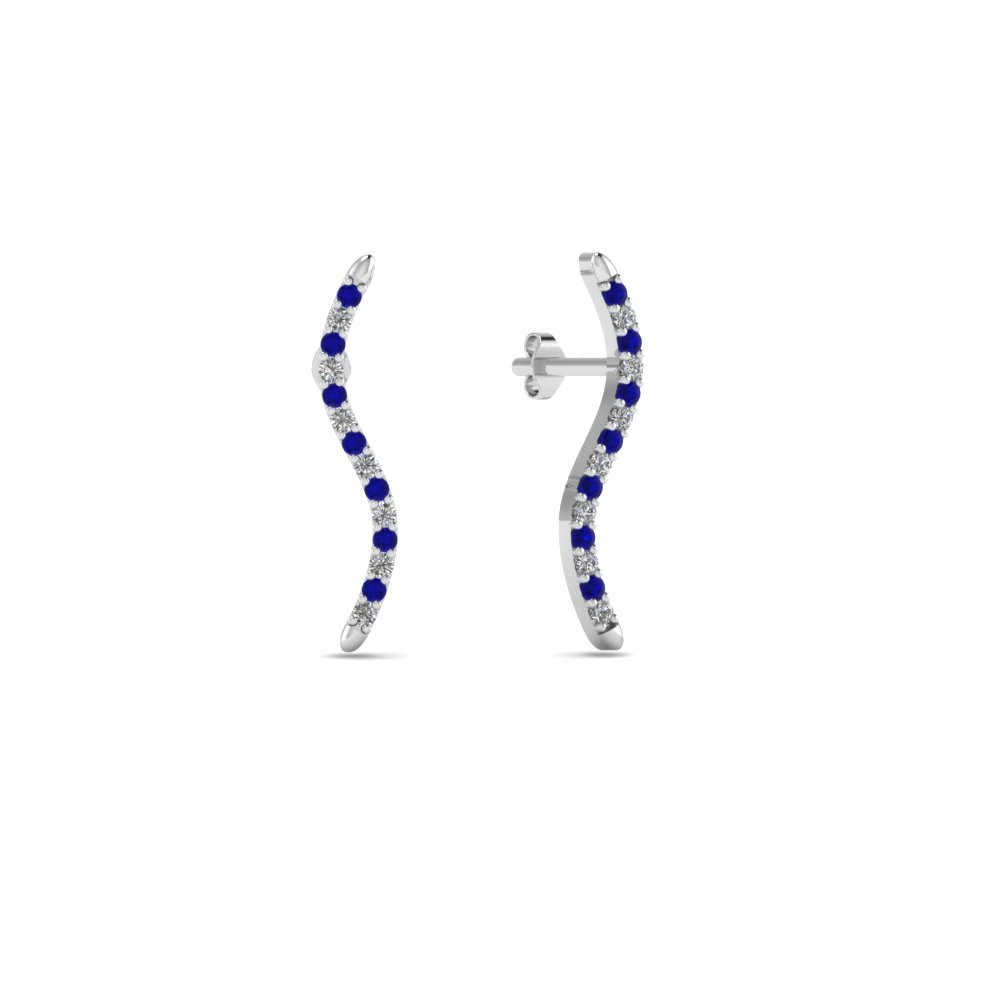 Sapphire Wave Delicate Earrings