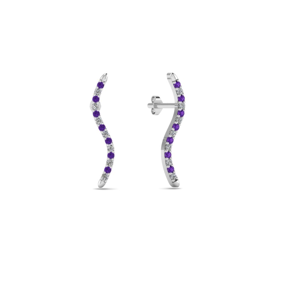 Delicate Curved Purple Topaz Earrings