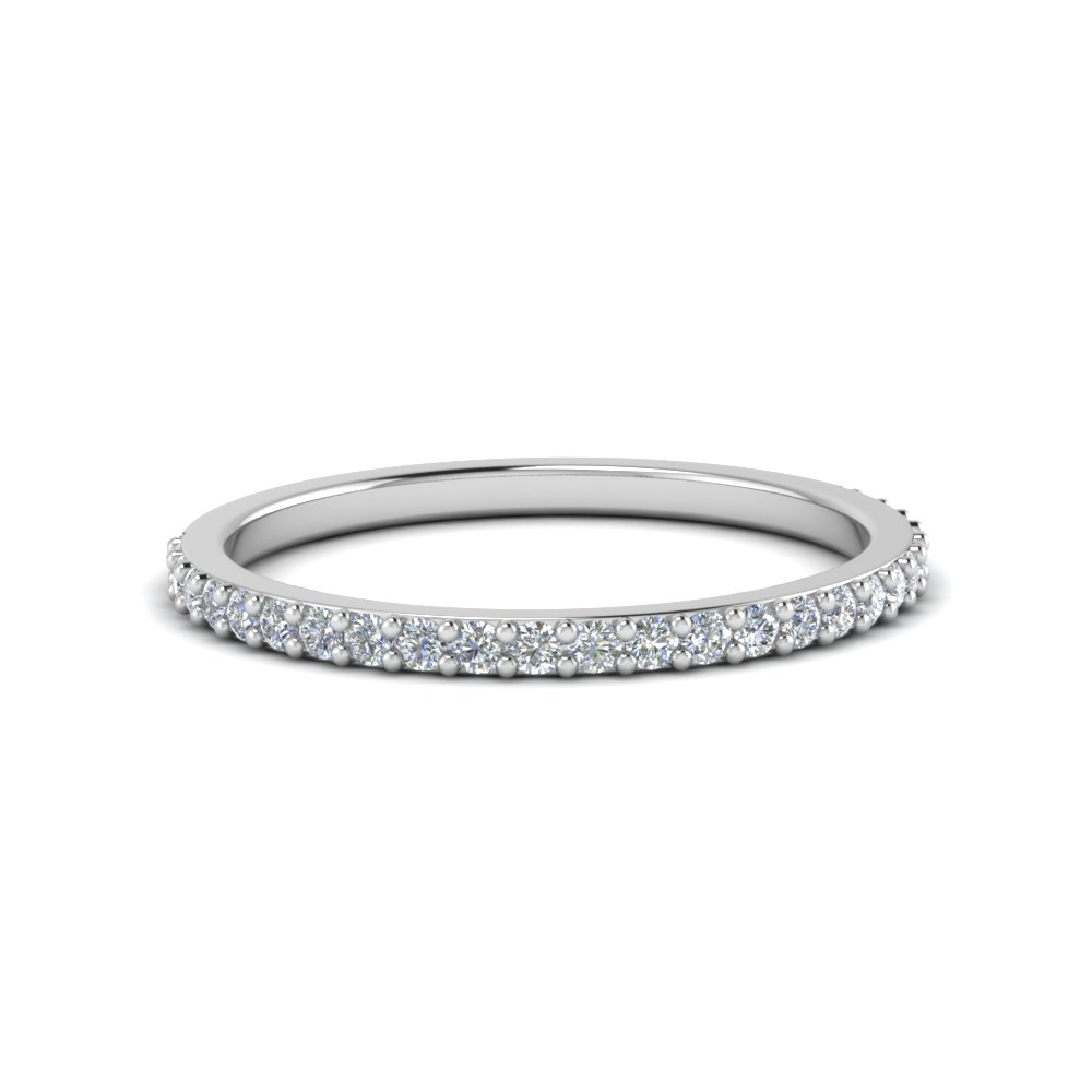Delicate Womens Custom Wedding Diamond Band In 14K White Gold