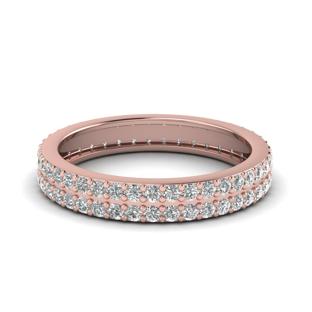 Deuce Serial Eternity Band With White Diamond In 14K Rose Gold