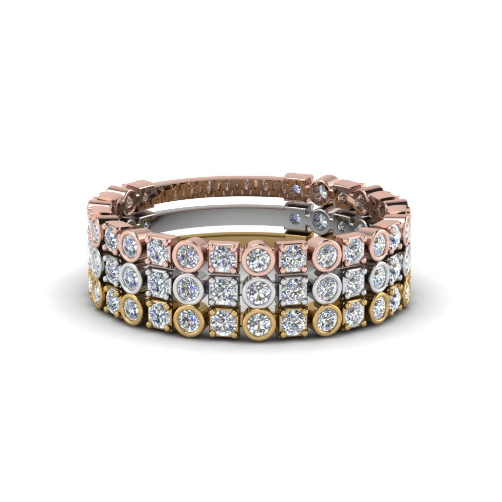Mixed Metal Stacking Bands With Diamonds