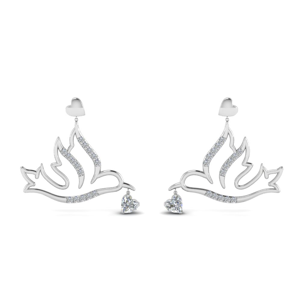 diamond bird drop earring in FDEAR8944ANGLE1 NL WG