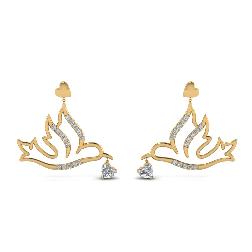 diamond bird drop earring in FDEAR8944ANGLE1 NL YG